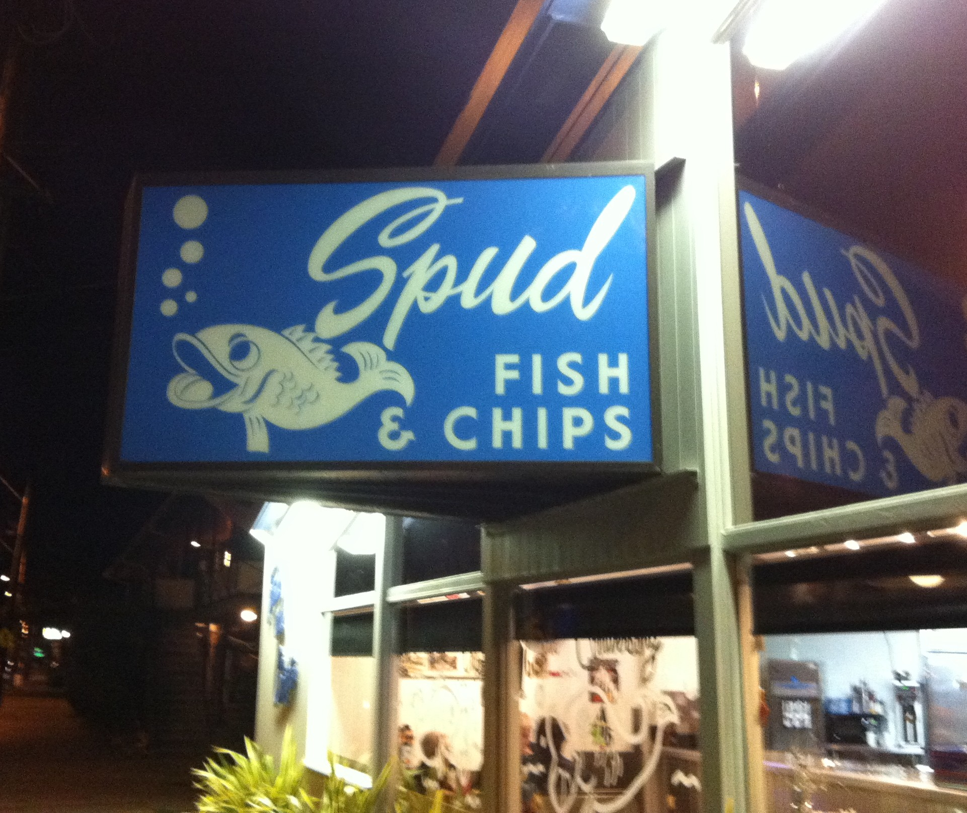 Pacific northwest seeing the sunlight behind the for Spuds fish and chips
